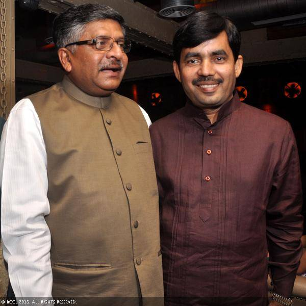 Ravi Shankar Prasad and Shahnawaz Hussain during Vani Tripathi's birthday bash, held in Delhi.