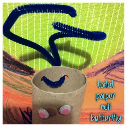 diy toilet paper roll butterfly with antennae