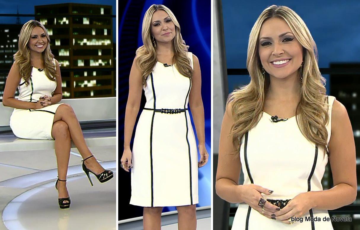 moda do programa Domingo Espetacular - look da Thalita Oliveira dia 29 de junho