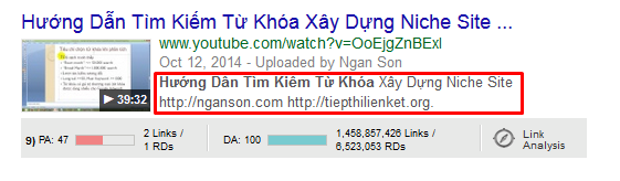 Tu khoa trong phan description seo youtube