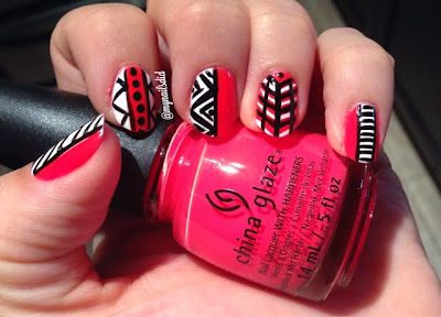 Neon Pool Party Tribal Geometric Manicure