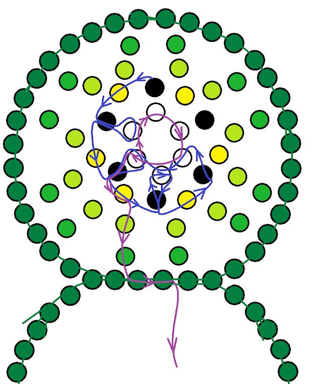 Зелёный браслет из бисера. Схема 2.