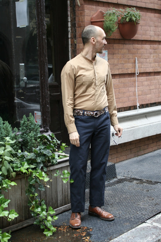 cotton shirting top  and cotton twill pants