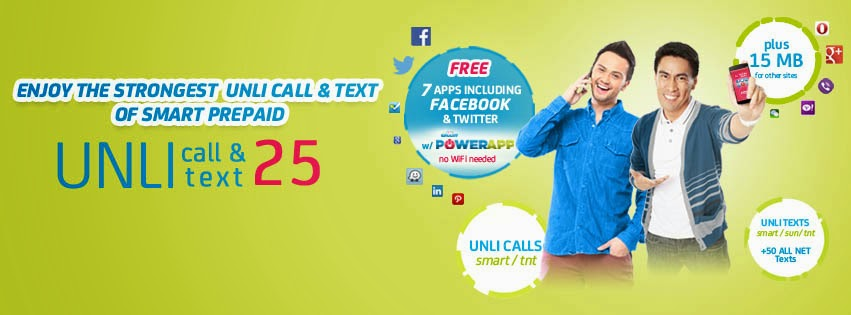 Smart Prepaid UNLI CALL & TEXT 25 text UNLI25 to 6406