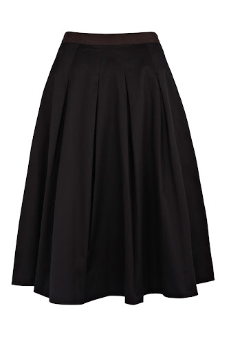 Black Cotton Full Skirt by Coast