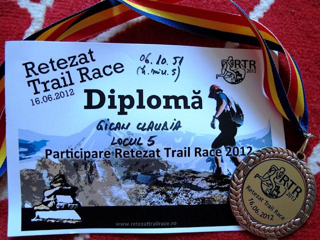 Retezat Trail Race - diploma si medalia de finisher