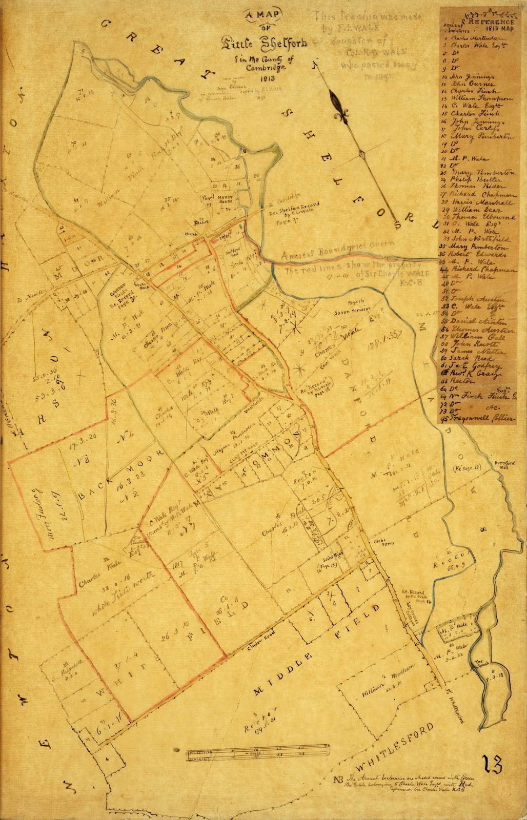 A Record of Shelford Parva by Fanny Wale P13 fo. 14, page 13: A map of Little Shelford with table of old inclosures traced from the inclosure map of 1813. [fo.13, but lacking the table of old inclosures]