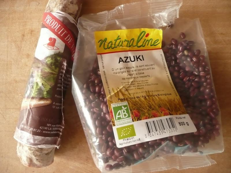 Haricots Azuki et Saucisse du Pilat avec le Sunny cooker P1040124