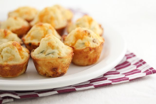 close-up photo of bacon chive puffs on a plate