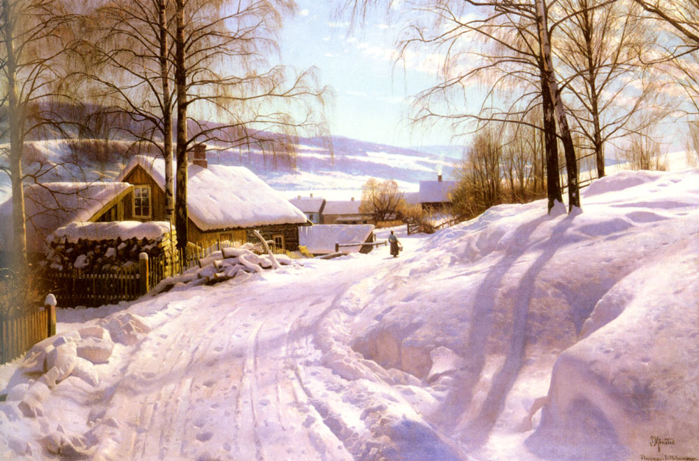 Peder Mork Monsted - On The Snowy Path, 1918