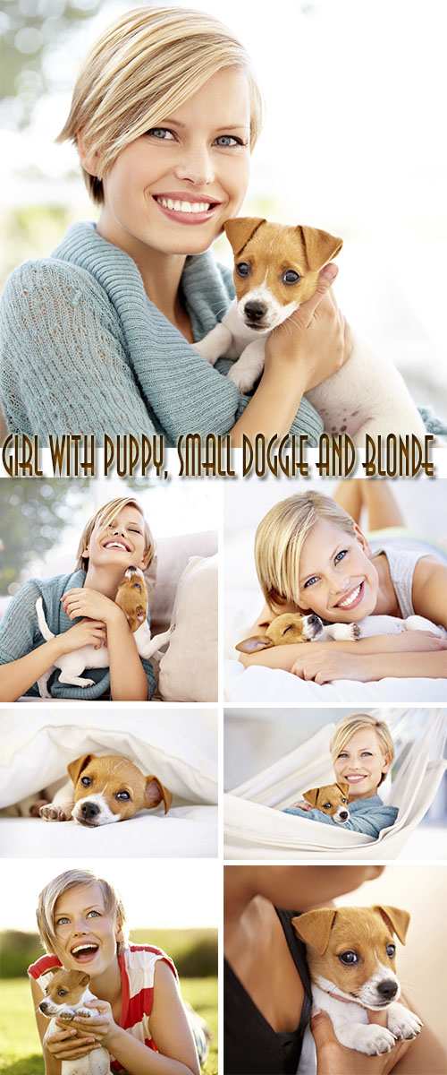 Stock Photo: Girl with puppy, small doggie and blonde