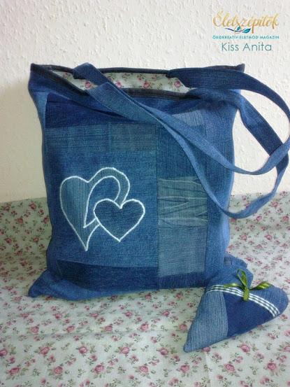 c92052165f92 Amikor már kész az összevarrt táska, belevarrom a kiválasztott színű  bélést, majd körbeszegem egy megfelelő puha farmeranyaggal, esetleg olyan  textillel, ...
