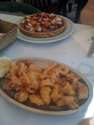 Galicia (Spain): Food and drink for the gourmet traveller. Calamari / calamares and octopus / pulpo.