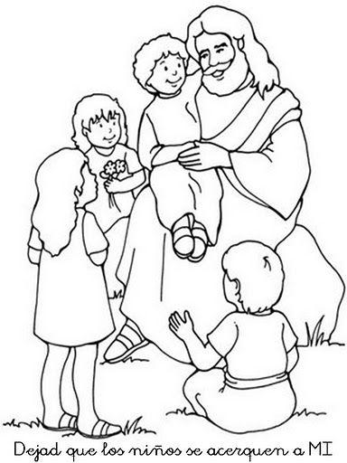 Imágenes de Jesús con los niños y niñas para colorear
