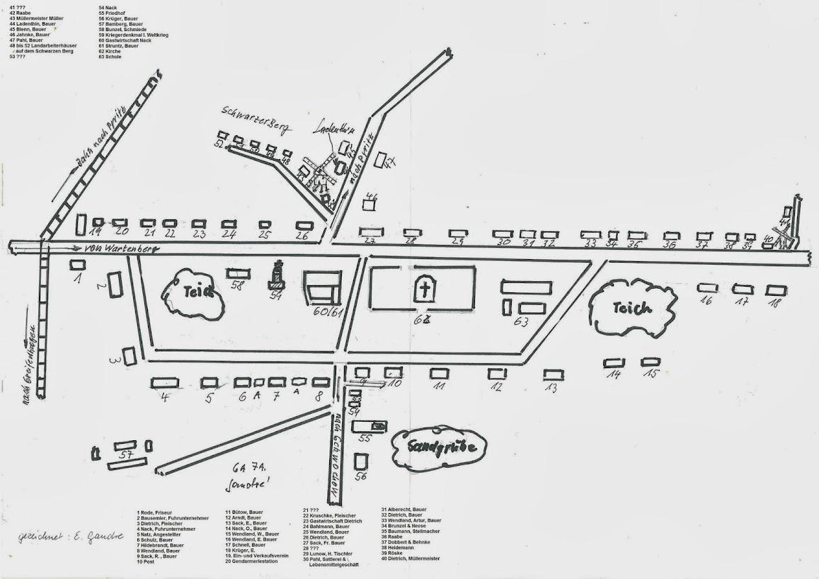 Lageplan von Bielice mit den Einwohnern kurz vor dem Eintreffen der Roten Armee 1945 (zum Öffnen der Bildergalerie auf das Bild klicken) Alle dargestellten Materialien entstammen der Arbeit der Ortsgruppe Chronik Tantow. Eine Verwendung bedarf der ausdrücklichen Genehmigung der Ortsgruppe Chronik Tantow.