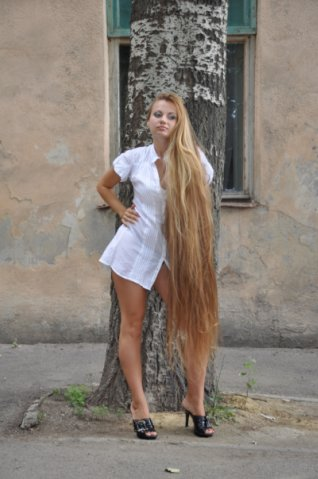 Fashion model very long legs and Super long blonde hair