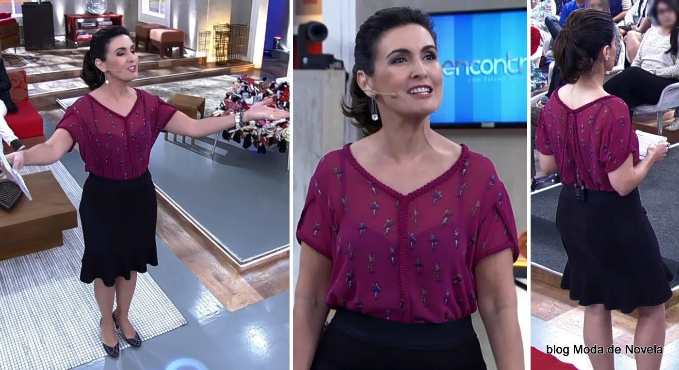 moda do programa Encontro - look da Fátima Bernardes dia 30 de maio