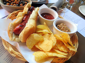 TBB Hot Dog with house ketchup and mustard, portland, neighborhood tavern, drinking food