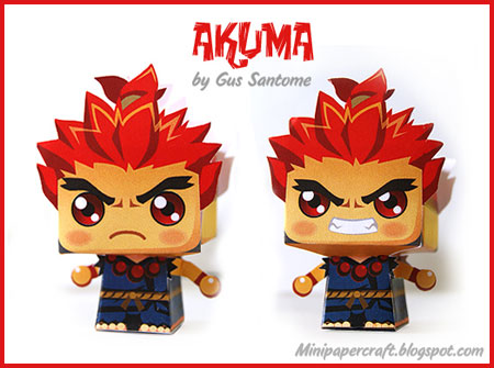 Street Fighter Mini Akuma Paper Toy