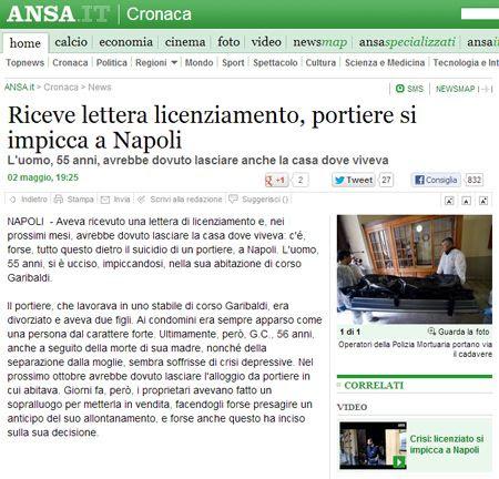 Riceve lettera licenziamento, portiere si impicca a Napoli