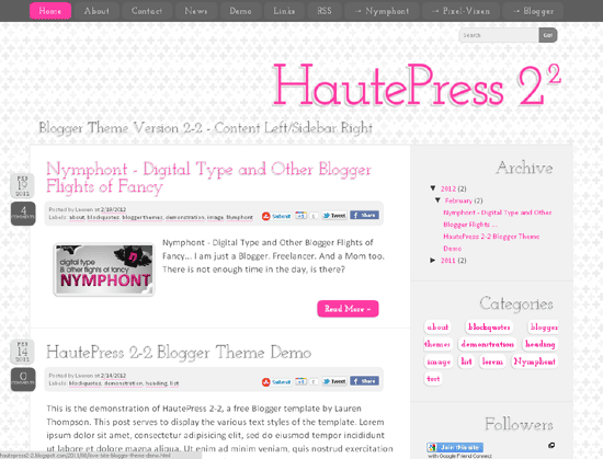 HautePress Version 2-2: Content left/Sidebar Right Orientation
