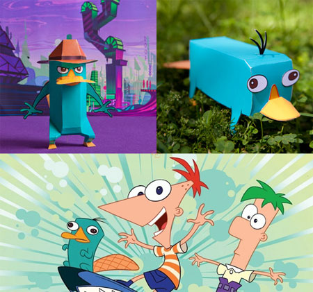 Phineas and Ferb Perry the Platypus Agent P Papercraft