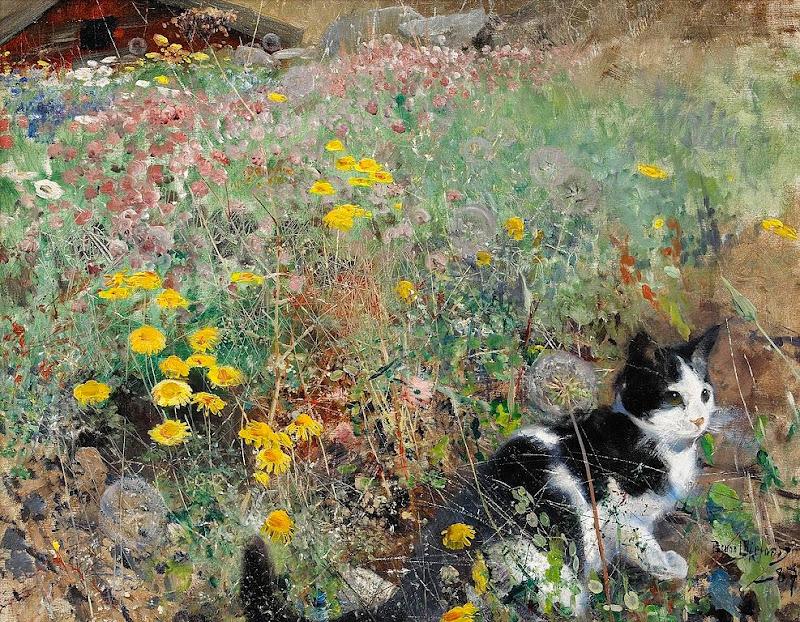 Bruno Liljefors - Cat on flowerbed