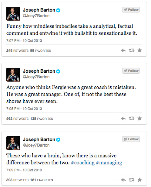 Joey Barton claims Sir Alex Ferguson couldnt coach [The best Tweets]