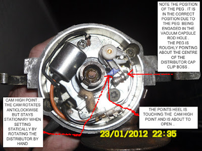 DISTRIBUTOR SHOWING POINTS ABOUT TO OPEN WITH THE PEG IN THE CORRECT PLACE AND THE CAM POINTING AT NUMBER ONE CYLINDER .