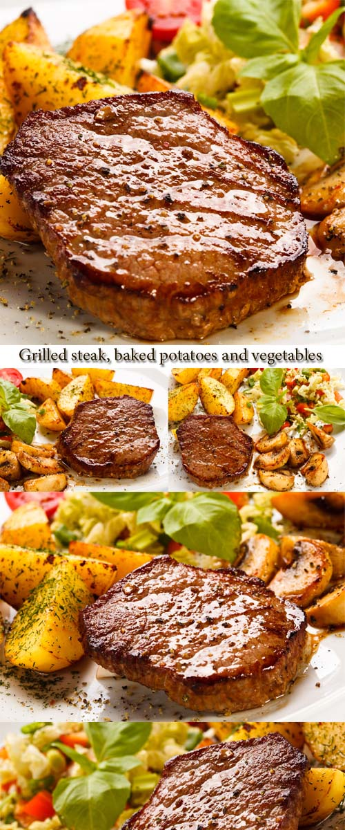 Stock Photo: Grilled steak, baked potatoes and vegetables