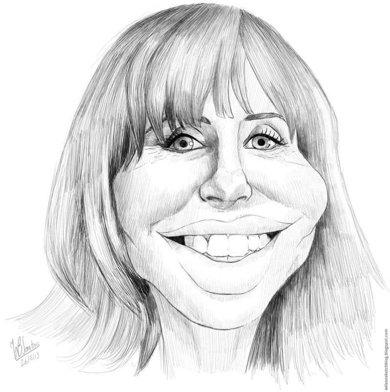 Caricature of Manuela Moura Guedes, using Krita.