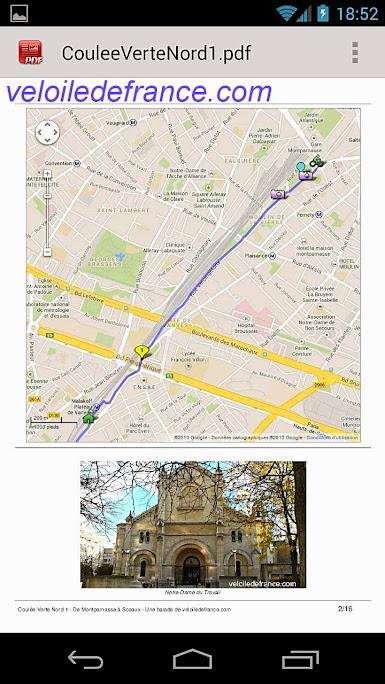 visualisation du tracé de l'itinéraire contenu dans le guide complet en PDF depuis un smartphone.