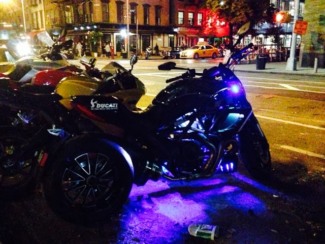 Tigho NYDucati at the Ear Inn: DOCNYC Tuesdays in Tribeca with a custom Ducati Diavel Chromo with pulsating LED lighting