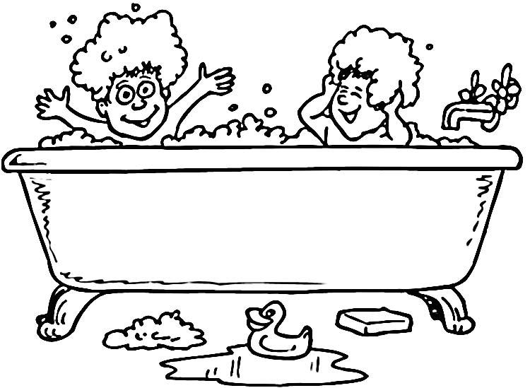 Pinto Dibujos: Niños en la bañera para colorear