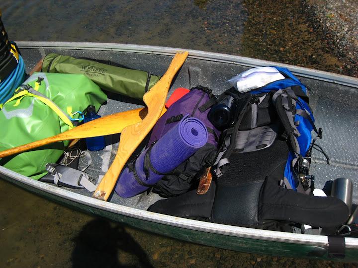 packed canoe