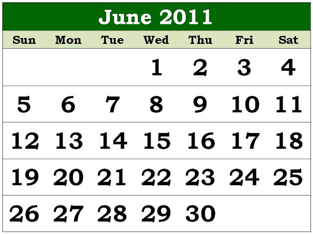 june 2011 calendar printable. Monthly 2011 Calendar June