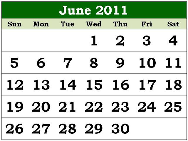 june 2011 calendar template. Monthly 2011 Calendar June