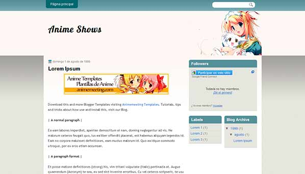 anime blogger template Anime Shows