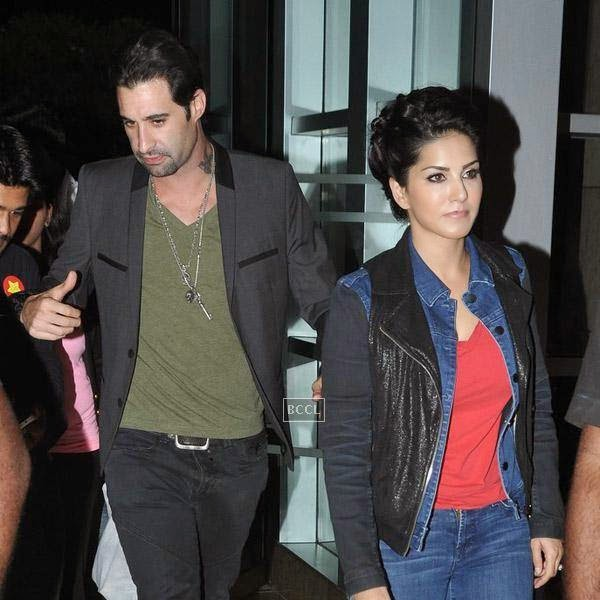 Daniel Weber and Sunny Leone snapped at a suburban hotel in Mumbai, on July 16, 2014.(Pic: Viral Bhayani)
