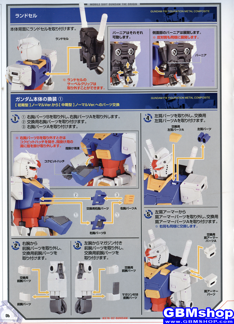 Gundam Fix Figuration Metal Composite #1009 RX78-02 Gundam The Origin Transformation Manual Guide