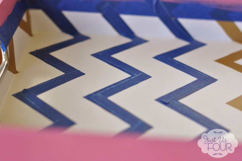 upcycled paper tray chevron pattern