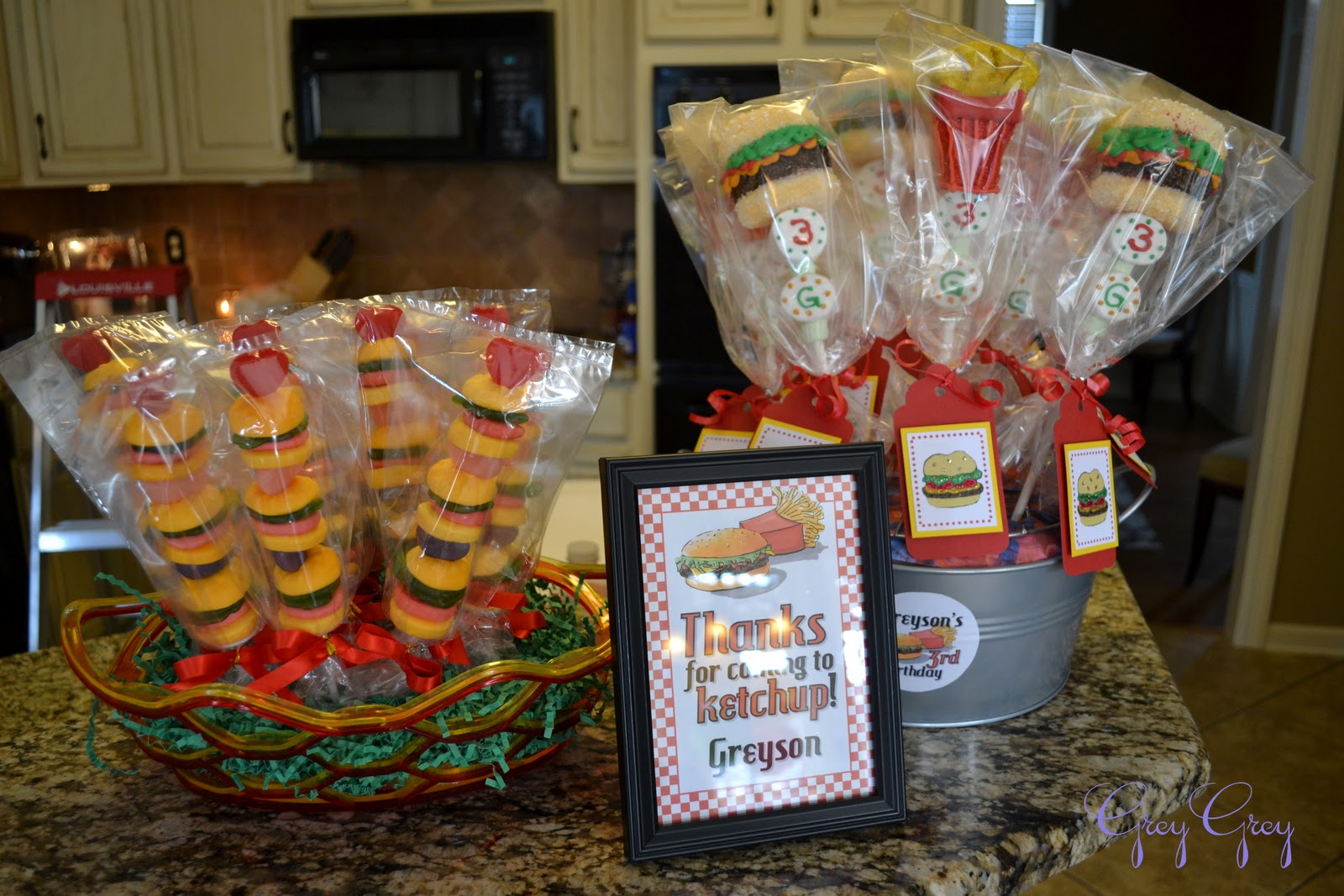 Beach Pail Party Favors Saying Thank You For Coming: GreyGrey Designs: {My Parties} Greyson's Hamburger Themed