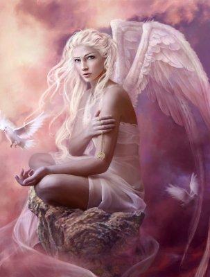 imágenes de ángeles mujeres con alas preciosa rosa pastel hermosa