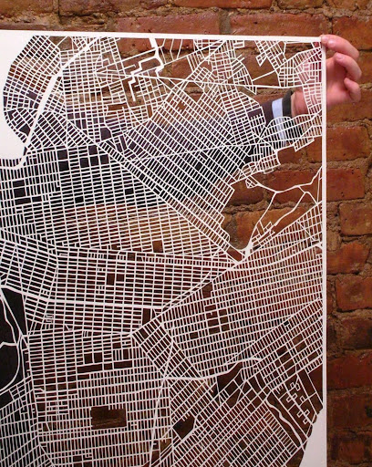 close up of Brooklyn/Manhattan cut out