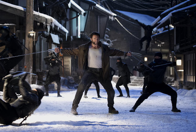 The Wolverine Logan fights ninjas in the snow