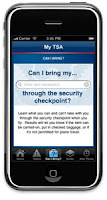 My TSA app screen shot on smartphone.
