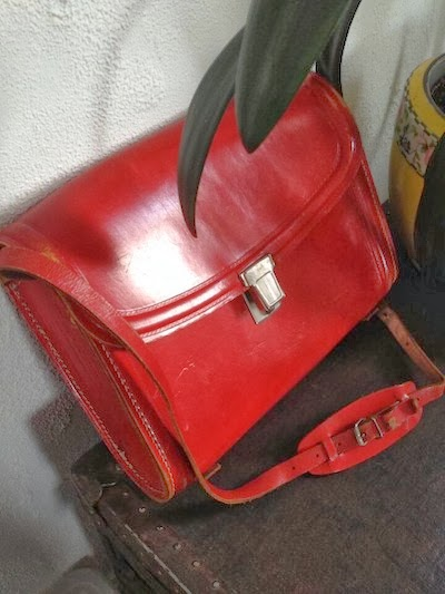 Red leather satchel from Bus Stop Vintage.