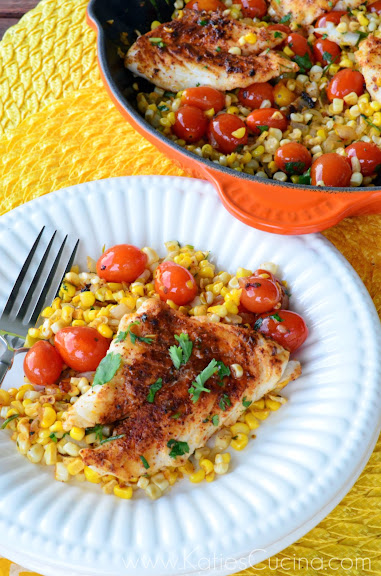 Mexican Corn & Grape Tomato Skillet with Grouper from KatiesCucina.com