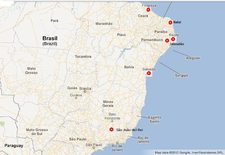 Le città in cui ha operato ed opera p. Francesco Cibin: Recife, Jaboatão, São João del Rei, Salvador de Bahia, Fortaleza, Natal