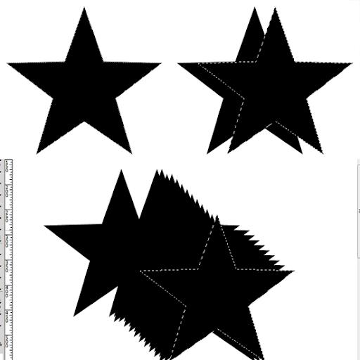 Estrela selecionada, duplicada uma vez e várias vezes